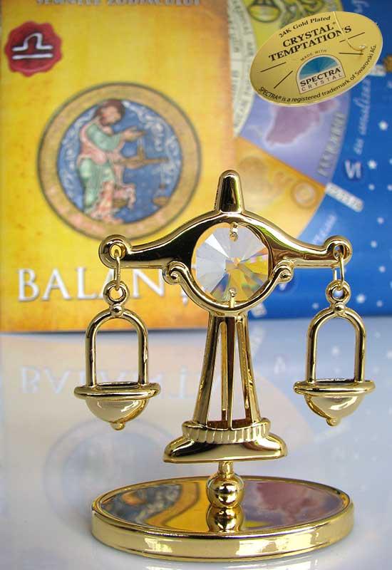 """Reducere de pret Balanța cu Cristale Swarovski - placat cu Aur 24K + broșură """"Balanța"""""""