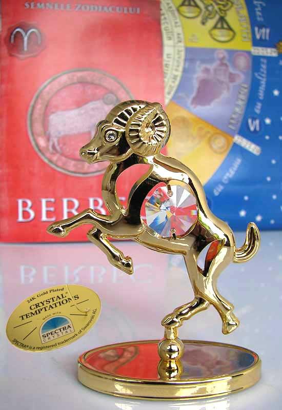 """Berbec cu Cristale Swarovski - placat cu Aur 24K + broșură """"Berbecul"""""""