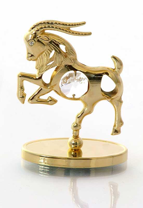 """Reducere de pret Capricorn cu Cristale Swarovski - placat cu Aur 24K + broșură """"Capricorn"""""""
