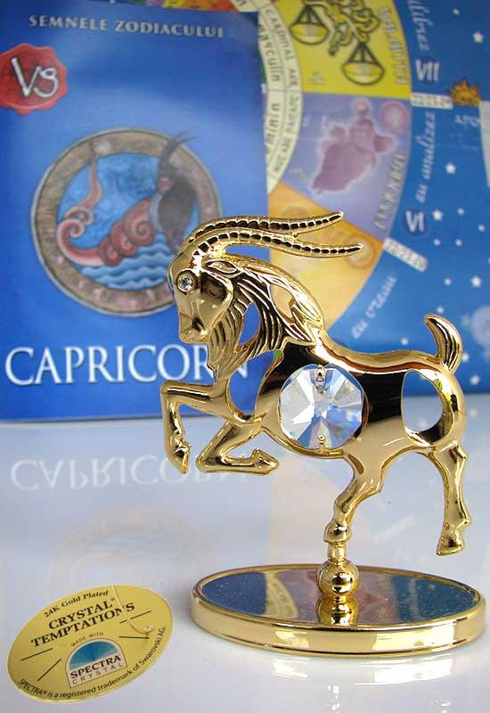 """Capricorn cu Cristale Swarovski - placat cu Aur 24K + broșură """"Capricorn"""""""