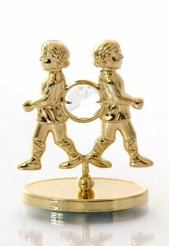 """Reducere de pret Gemeni cu Cristale Swarovski - placat cu Aur 24K + broșură """"Gemenii"""""""
