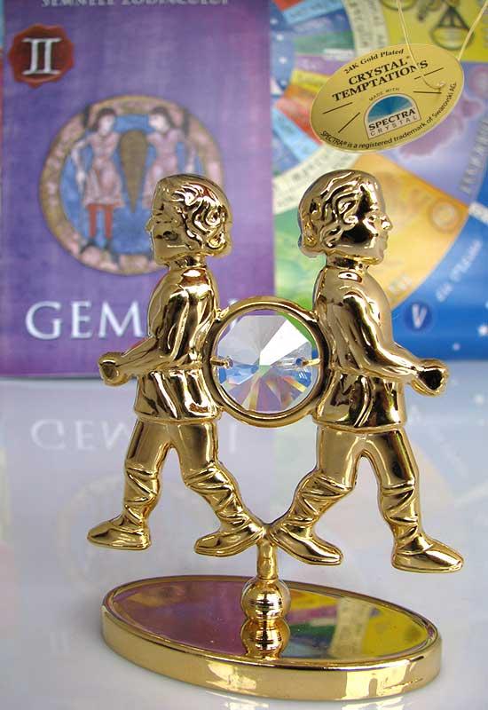 """Gemeni cu Cristale Swarovski - placat cu Aur 24K + broșură """"Gemenii"""""""