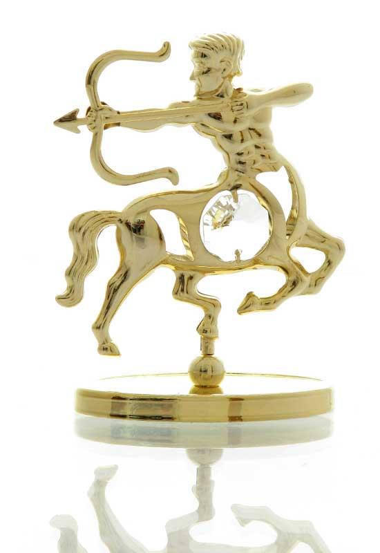 """Reducere de pret Săgetător cu Cristale Swarovski - placat cu Aur 24K + broșură """"Săgetător"""""""