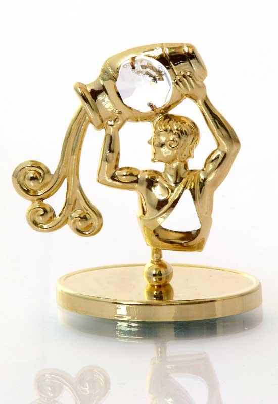 """Reducere de pret Vărsător cu Cristale Swarovski - placat cu Aur 24K + broșură """"Vărsător"""""""