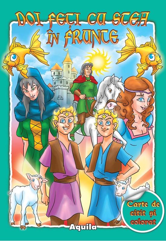 Cărți pentru copii - Doi feți cu stea în frunte. Carte de citit și colorat