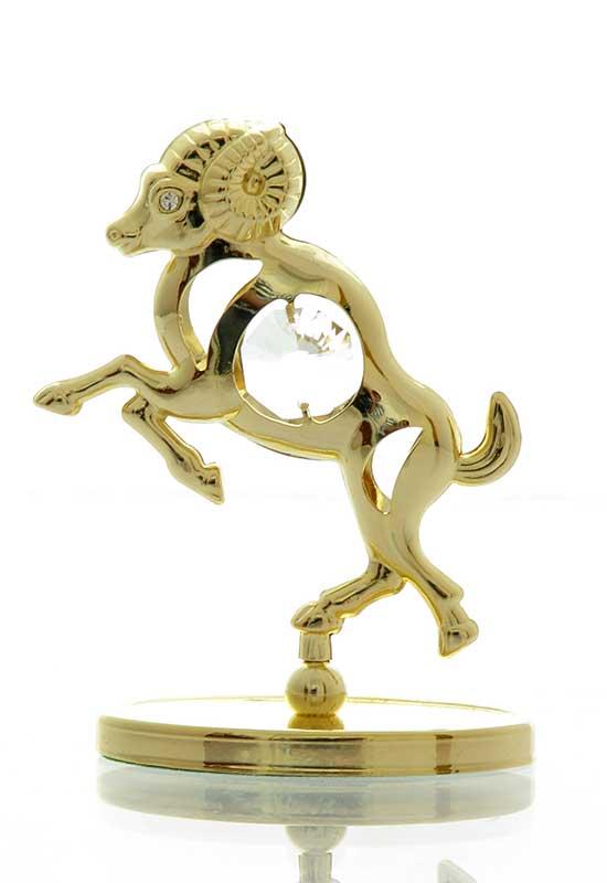 """Reducere de pret Berbec cu Cristale Swarovski - placat cu Aur 24K + broșură """"Berbecul"""""""