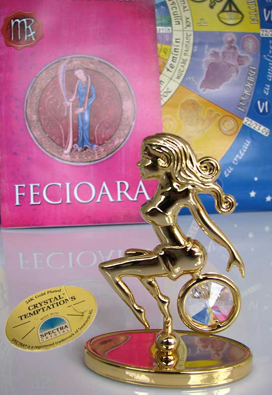 """Fecioara cu Cristale Swarovski - placat cu Aur 24K + broșură """"Fecioara"""""""