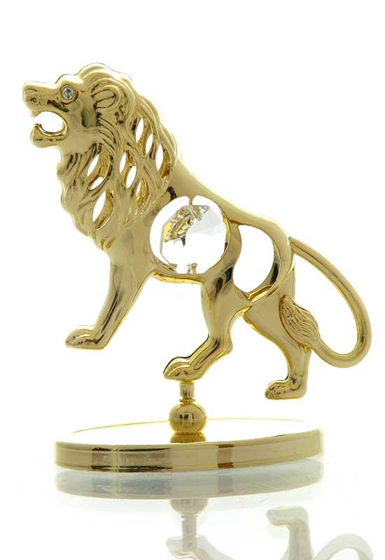 """Reducere de pret Leu cu Cristale Swarovski - placat cu Aur 24K + broșură """"Leu"""""""