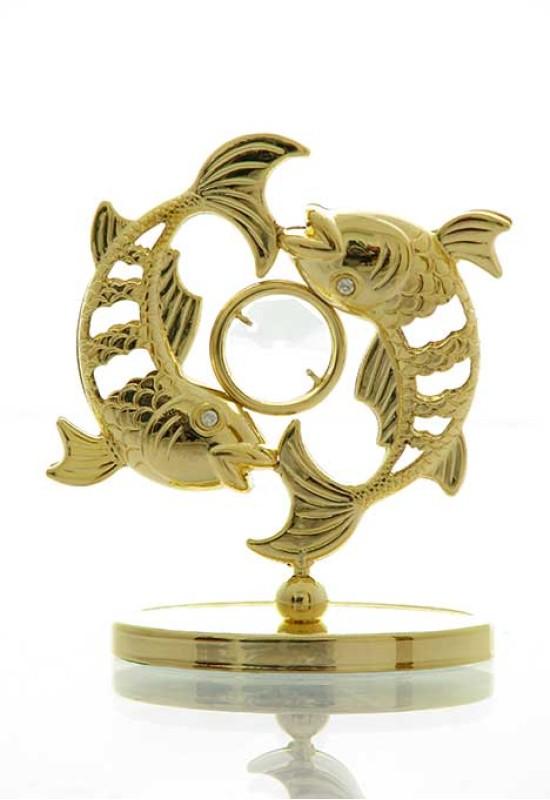 """Reducere de pret Pești cu Cristale Swarovski - placat cu Aur 24K + broșură """"Pești"""""""