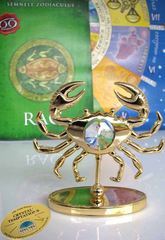 """Rac cu Cristale Swarovski - placat cu Aur 24K + broșură """"Rac"""""""
