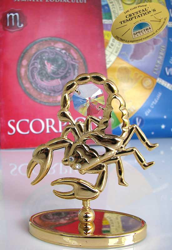 """Scorpion cu Cristale Swarovski - placat cu Aur 24K + broșură """"Scorpion"""""""