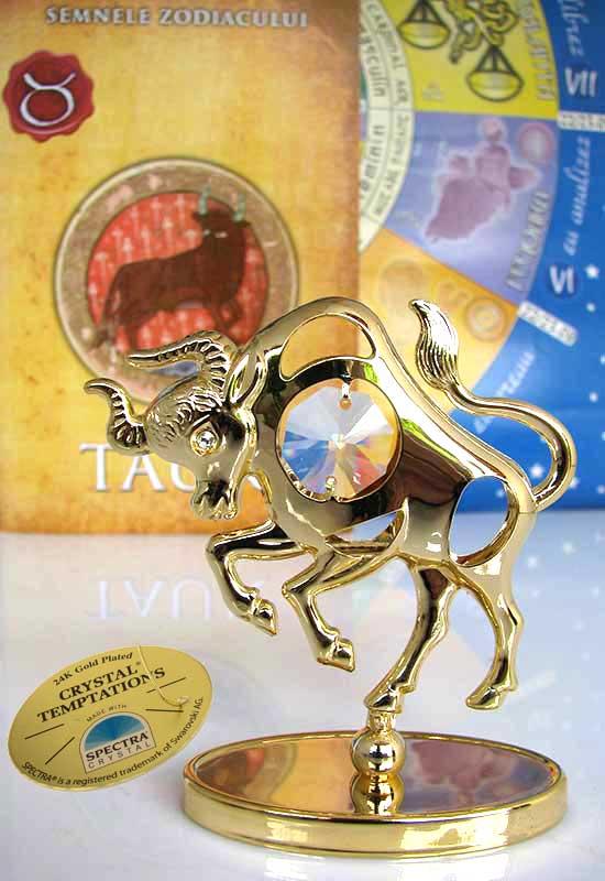 Taur cu Cristale Swarovski - placat cu Aur 24K